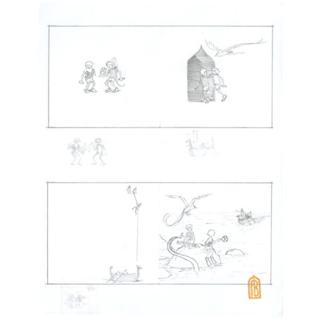 Quest early draft #2 - sketch by Aaron Becker
