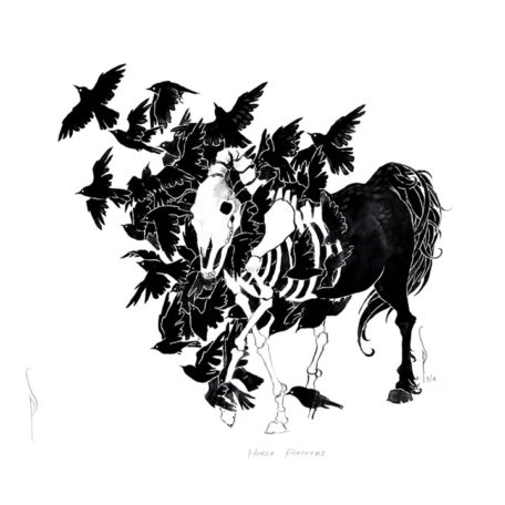 Horse Feathers - print by Pete Sandker