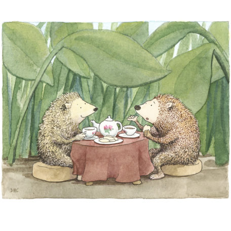 Hedgehog Tea Party - signed print by David Hyde Costello