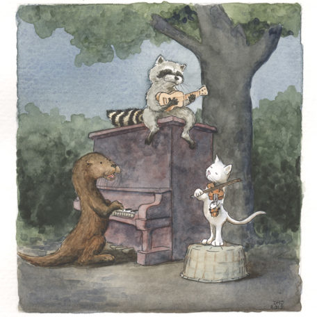 Musical Trio - signed print By David Hyde Costello