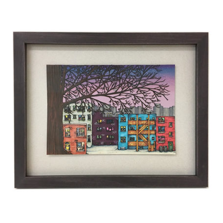 City Alley Tree - original artwork by Mansa Fantozzi