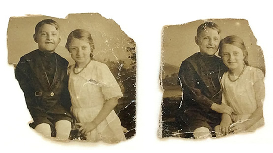 Siblings photo restoration - before