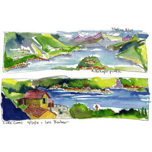 Lake Como, Two Views - print by Lois Barber