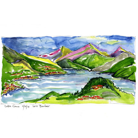Lake Como with Magenta Mountains - print by Lois Barber