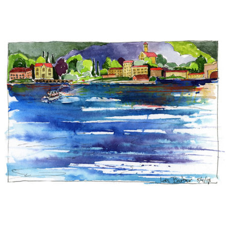 Lake Como with Ferry - print by Lois Barber