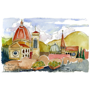 Florence, with Duomo from Rooftop Bar - print by Lois Barber