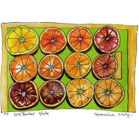 Blood Oranges, Spannocchia - print by Lois Barber