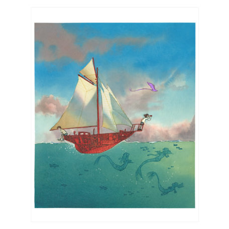Sailing Away – signed print by Aaron Becker