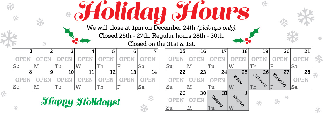 December Holiday Hours 2019