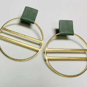 Large Leather and Brass Hoops